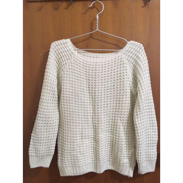 二手衣🚀米白色針織毛衣
