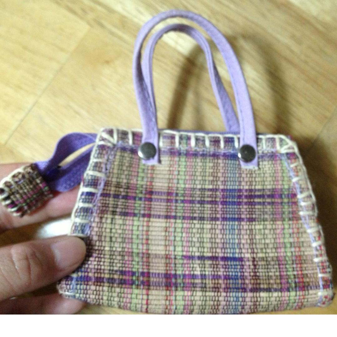 紫色格紋拉鍊小小小零錢提包