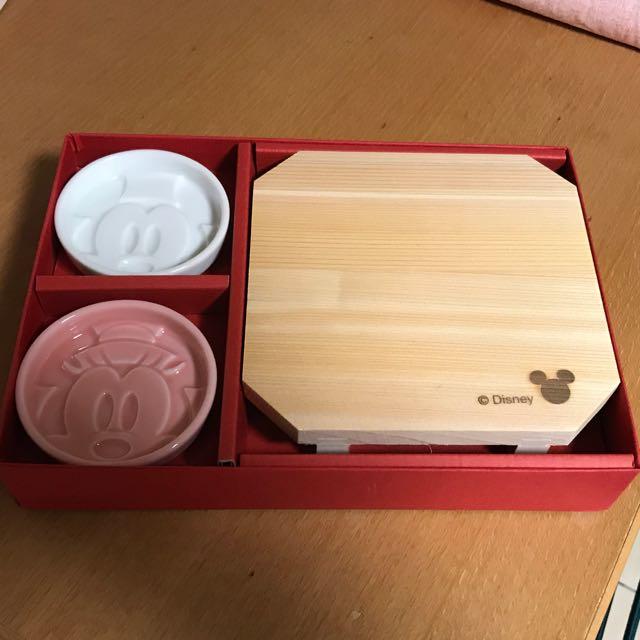 日本製米奇米妮醬油碟