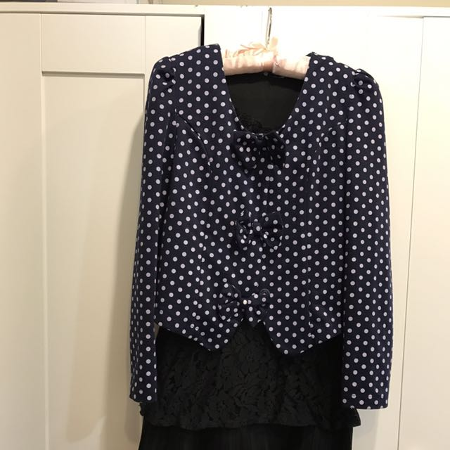 ❤蝴蝶結點點外套+黑色無袖長版上衣