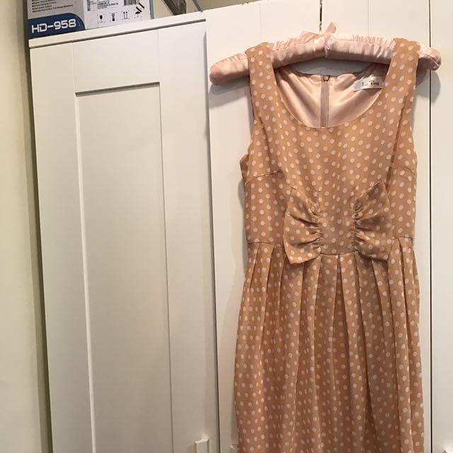 ❤公主袖西裝外套+橘色點點花苞洋裝