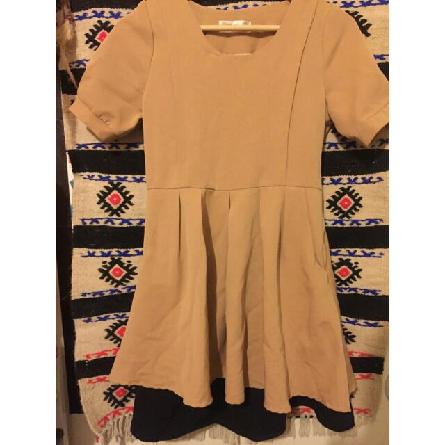 韓貨鵝黃雙層小洋裝