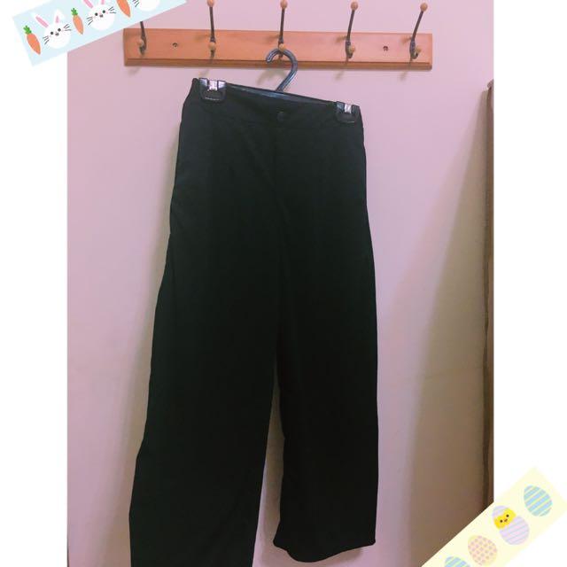黑色彈性寬褲