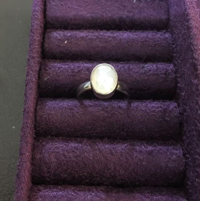 藍暈月光石 純銀925 半寶石戒指