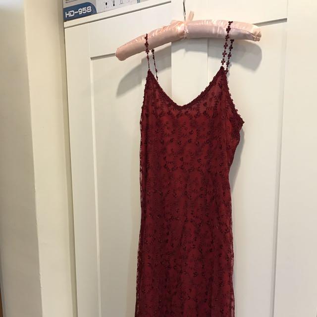 ❤性感細肩帶紅色蕾絲洋裝 近全新