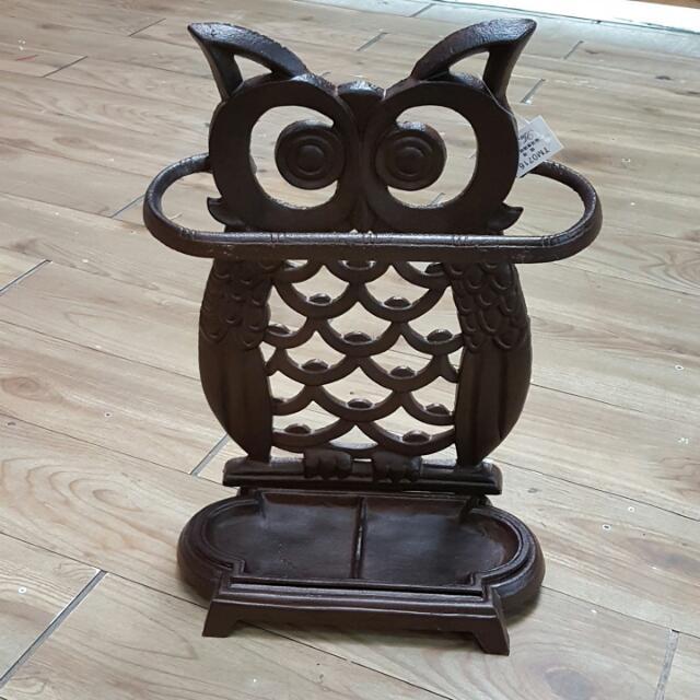 (鑄鐵)貓頭鷹傘架,全新尺寸: 33*16*49cm售價: 1500