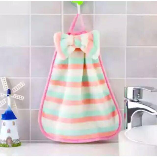 珊瑚絨大蝴蝶結 擦手巾 掛巾 抹布 浴室巾