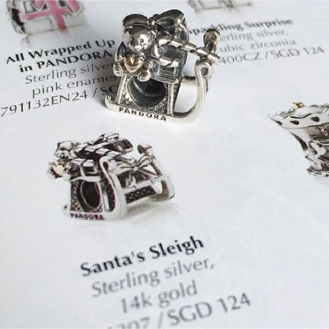 edaece8d9 Authentic Pandora Charm Santa's Sleigh , 14K Two Tone Charm, Luxury,  Accessories on Carousell