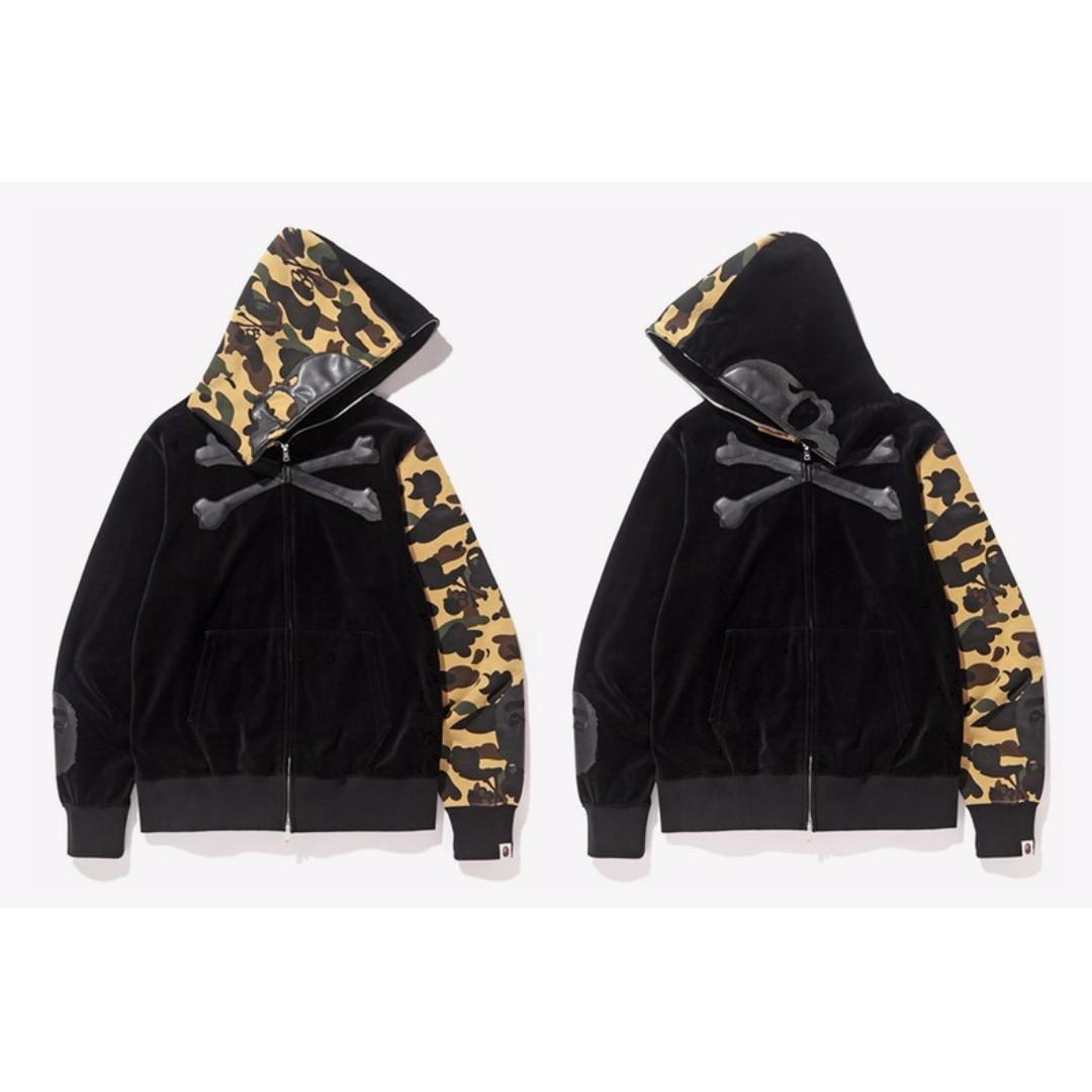 ccaa8fba3ed  1480 Bape x Mastermind Japan Velvet Full Zip Hoodie