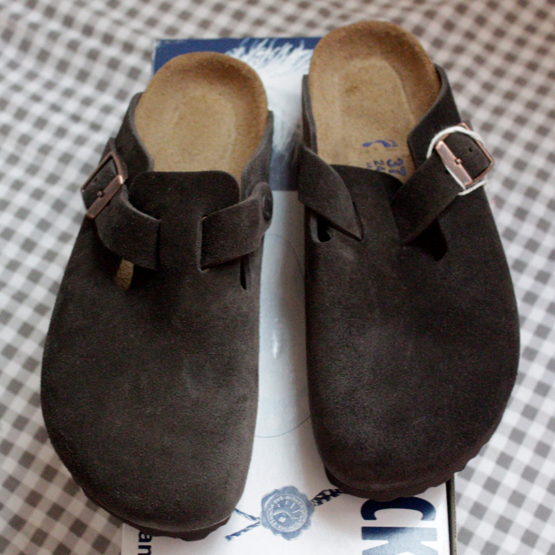 Birkenstock boston 半包麂皮懶人拖鞋 真皮