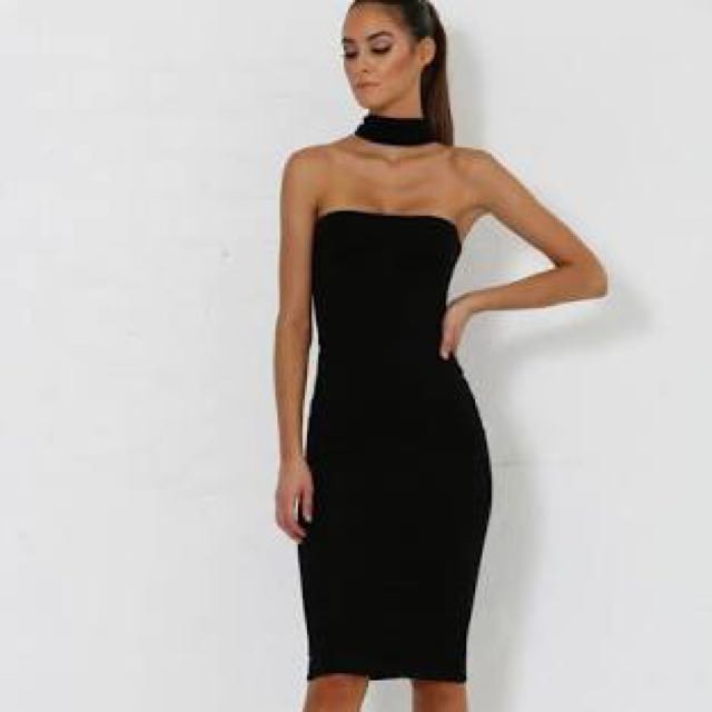Black Choker Strapless Dress
