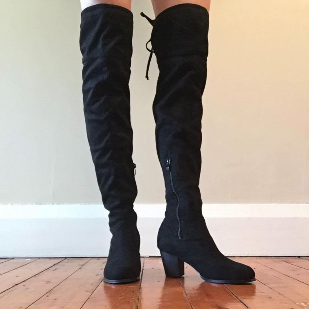 Black Suede Over the knee Boots Size 7.5