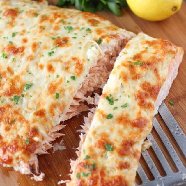 CHEESE CRUSTED BAKED SALMON