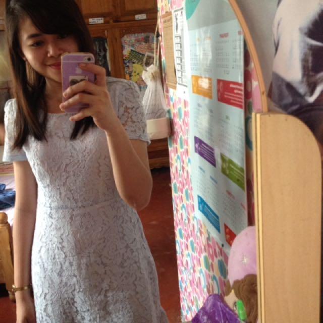 Classy Light Blue Lace Dress