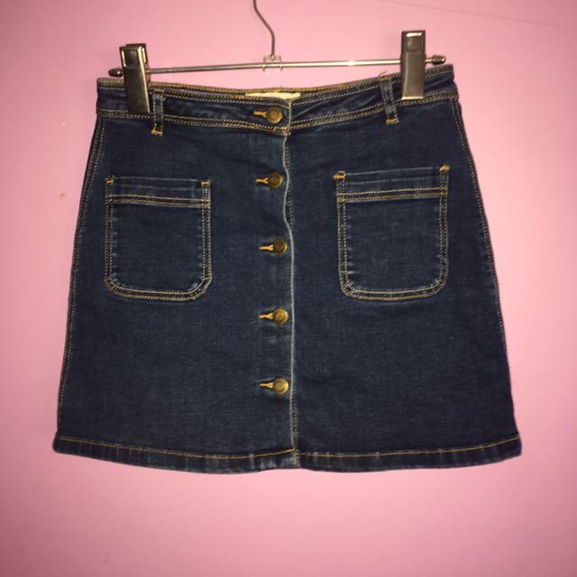 Dark Washed Denim Skirt