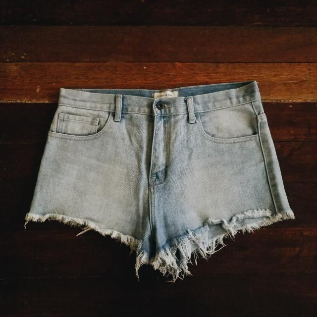 Denim Semi High Waist Shorts