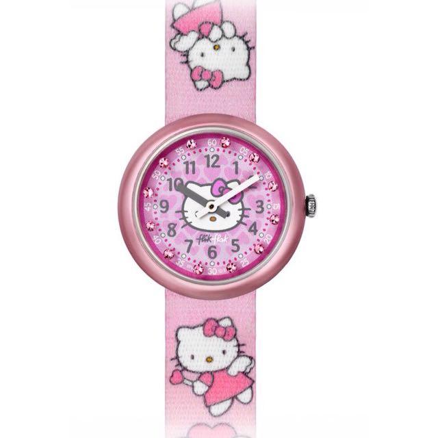 Flik Flak X Hello Kitty Swatch與Sanrio三麗鷗聯名粉紅天使Angel絕版表款(FLN028)