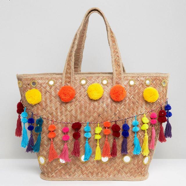 Glamorous straw bag