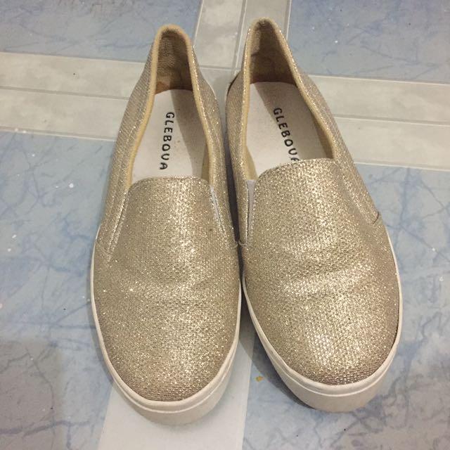 Gold Blink Korean Shoes