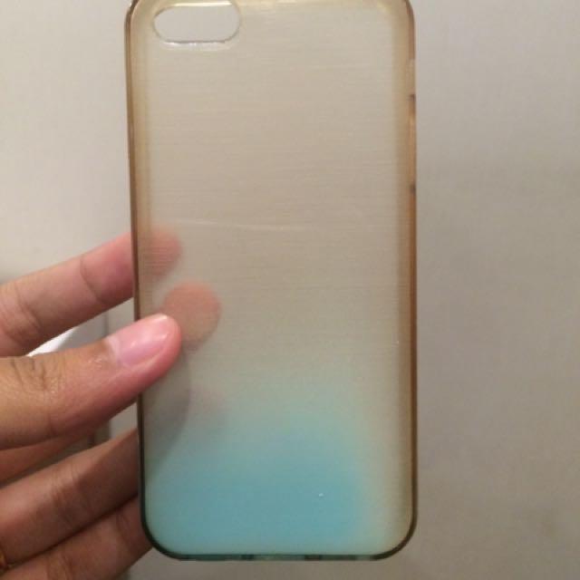 iphone 5/ 5s case transparant blue soft case
