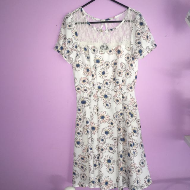 Lace Floral Skater Dress