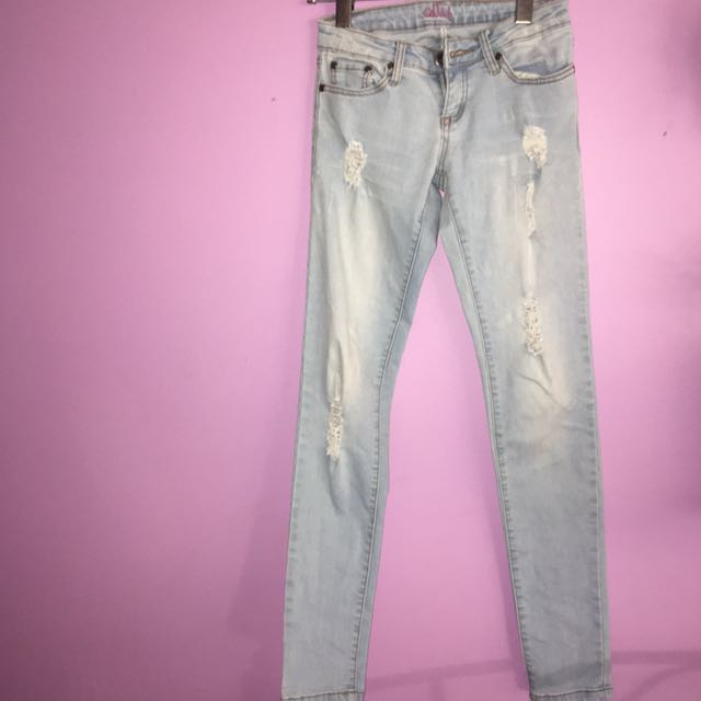 Light Washed, Distressed Skinny Jeans
