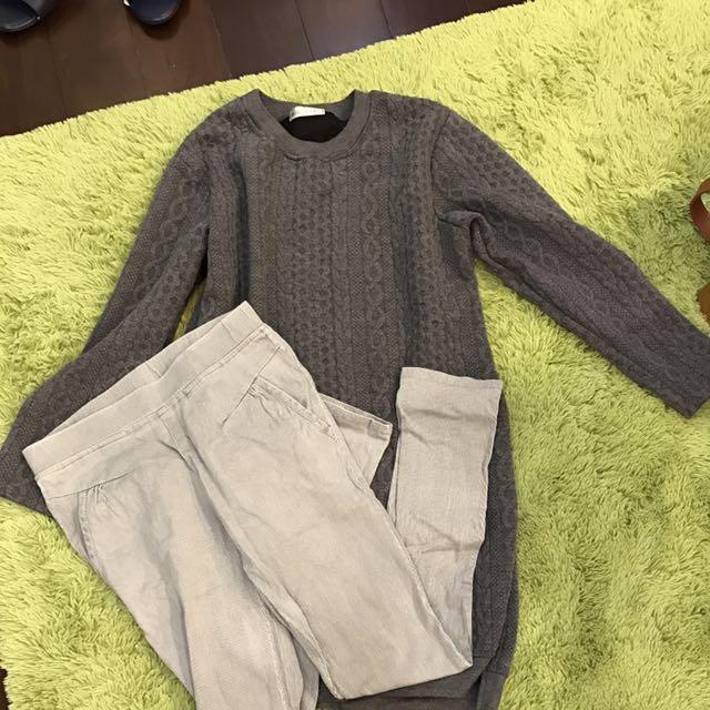 ❤Miu Star 灰色長版上衣+灰色條紋內搭褲