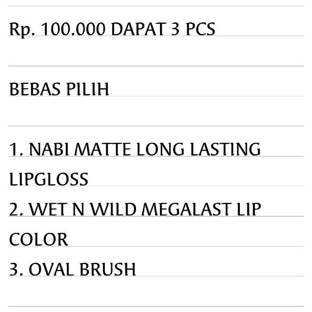 Nabi Matte + Wet N Wild + Oval Brush