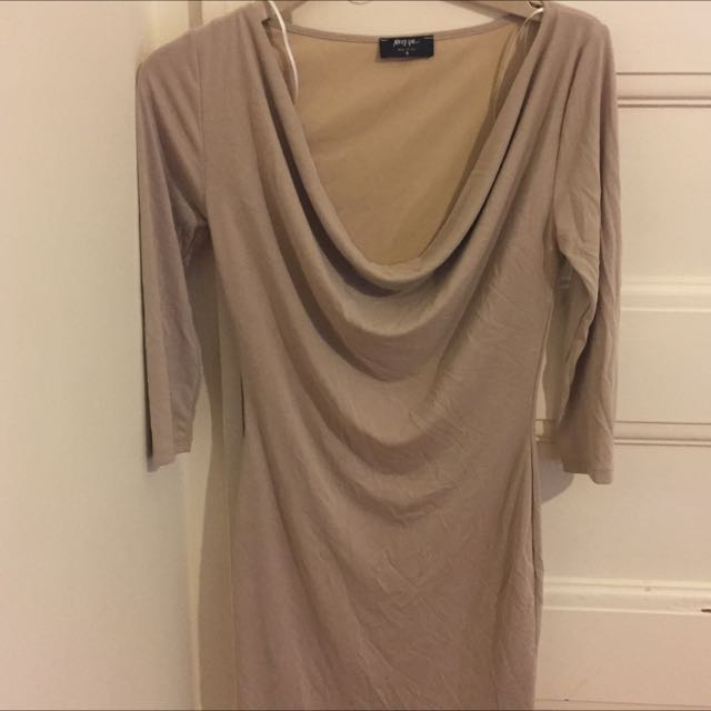 Nasty Gal Beige Cowl Dress Size Small
