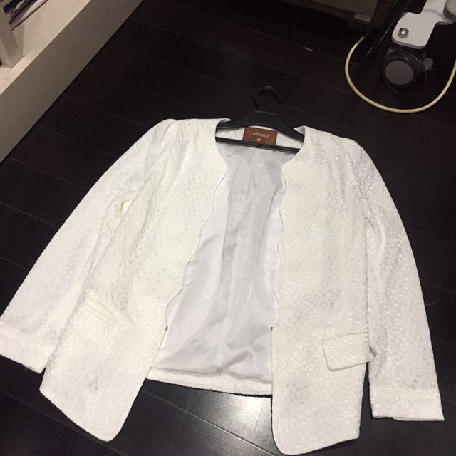 New White Lace Blazer