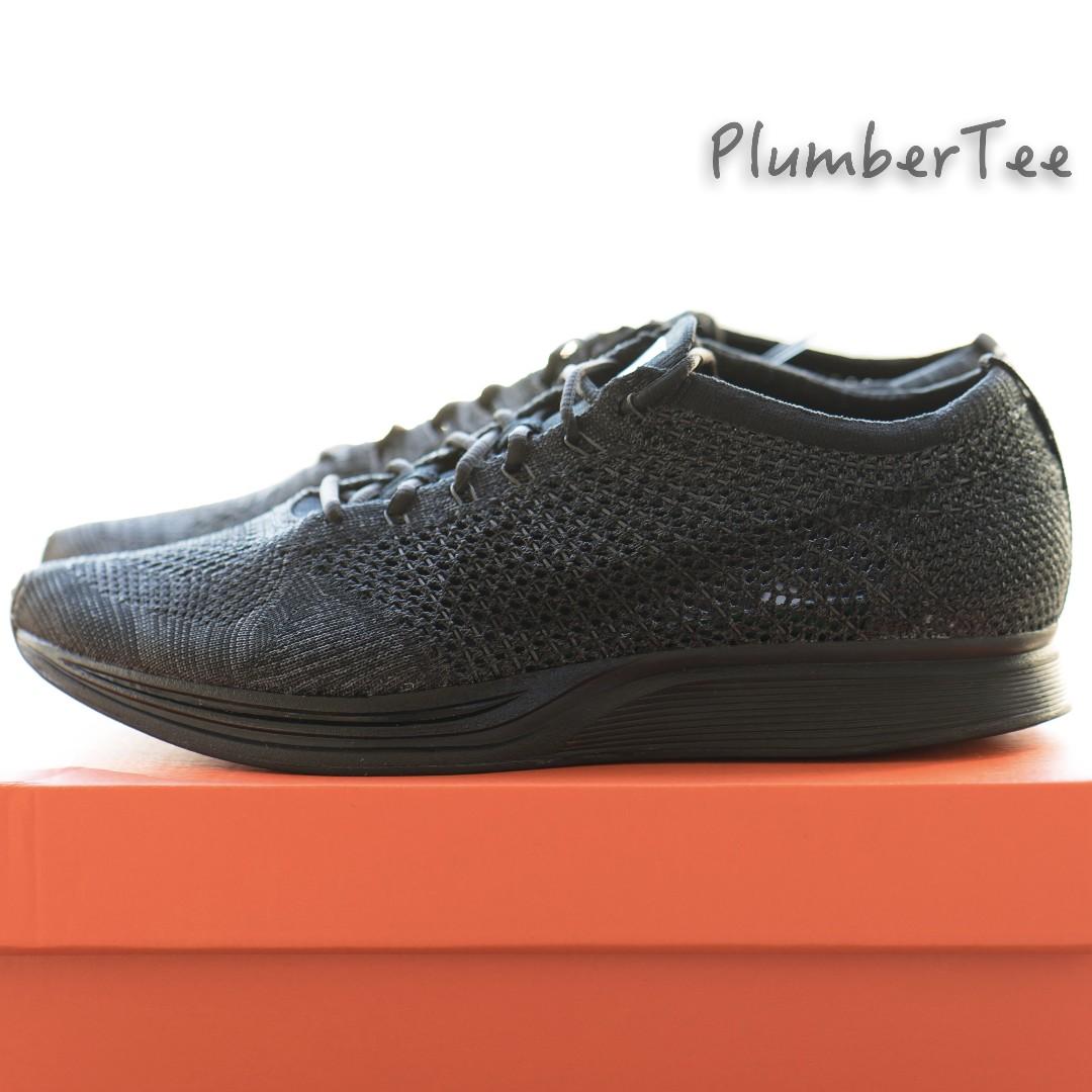 Women US 7 Nike Flyknit Racer Unisex Running Shoe Triple Black