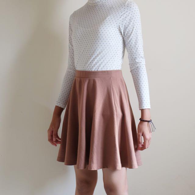Nude Flare Skirt