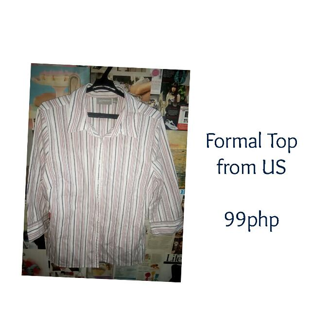 Stripes Formal Top - Preloved