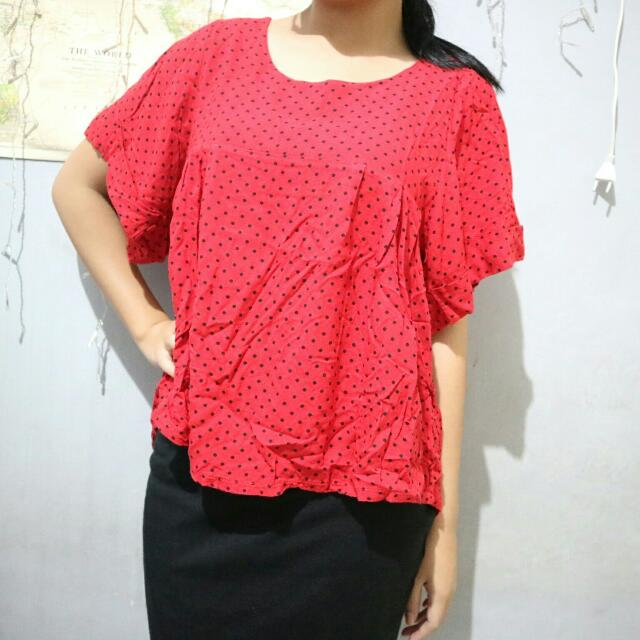 Red Polkadot Blouse