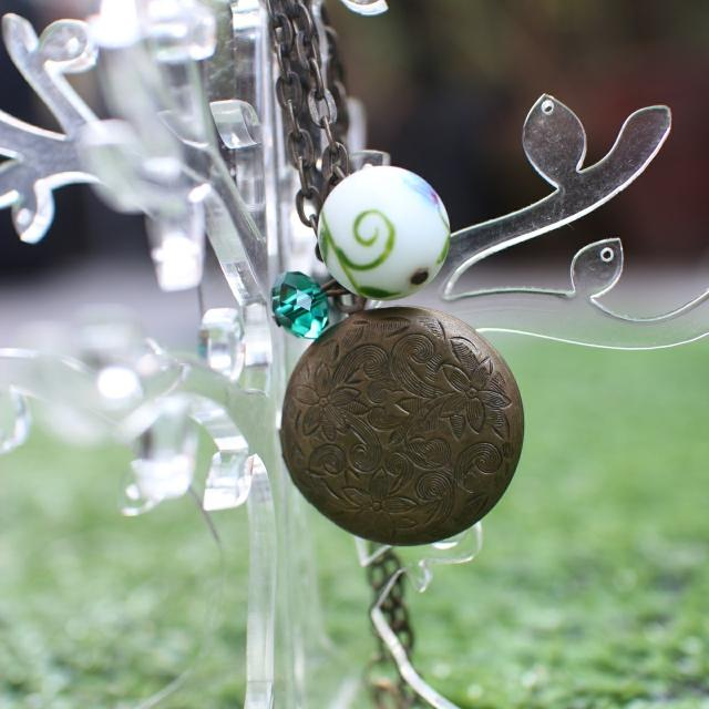 Round Locket With Beads