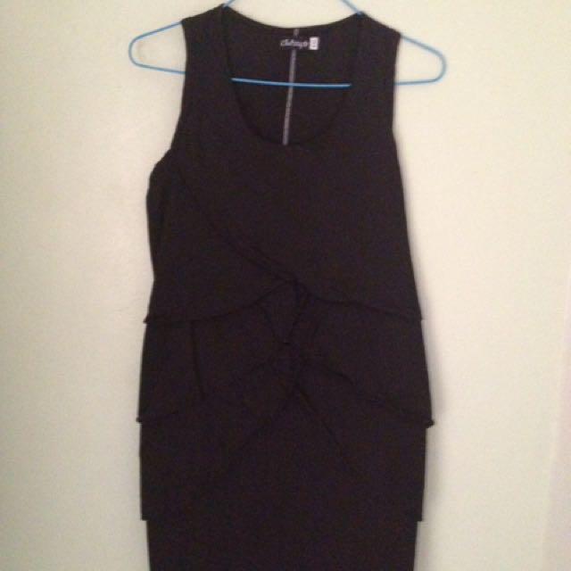 Ruffles Black Mini Dress