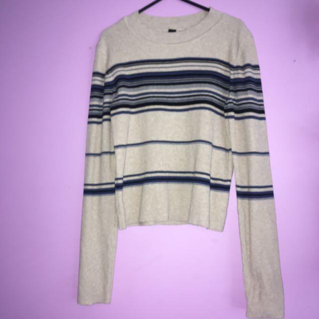 Striped Low Cropped Sweatshirt