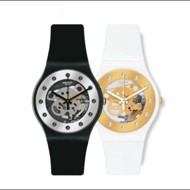 Swatch Unisex SUOZ147 Silver Glam Analog Display Quartz Black Watch 手錶