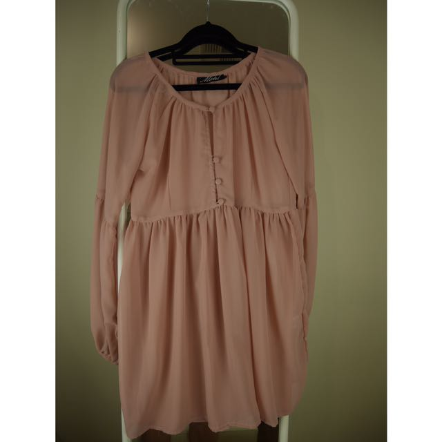 TOPSHOP MOTEL SHEER BLUSH DRESS