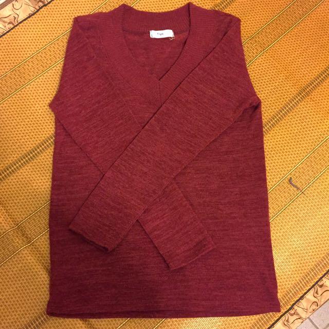 Queenshop酒紅色v領針織衫