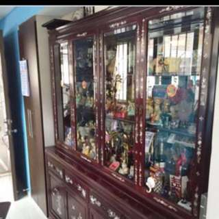 Antique Rose Wood Display Cabinet