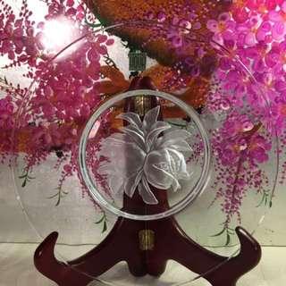 Japanese Hoya Crystal Engraved Plate