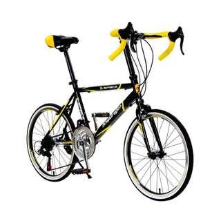 【StepDragon】SRS-CH300(黑黃) 彎把小徑車 shimano 21速 451 -【台中-大明自行車】
