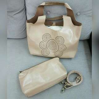 BN Nude Soft Leather Tote Bag