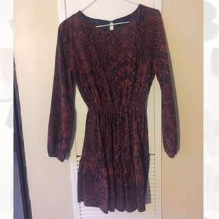 Burgundy Pattern Dress