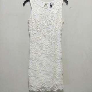 SALE HM Offwhite Brukat Backless Dress