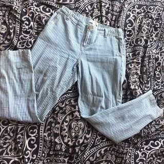 Teal pinstripe jeans
