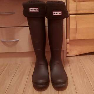 TALL CHARCOAL BLACK HUNTER BOOTS