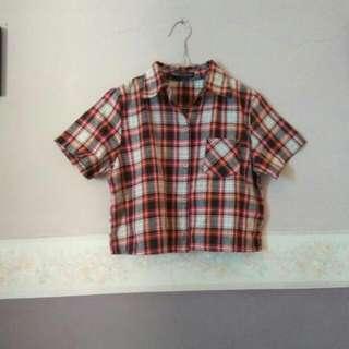 Sawat Boutique Bangkok Tartan Crop Shirt