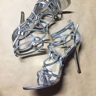 Strappy Silver Guess High Heels